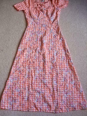 70s 80s vintage retro IMAJ orange check gingham floral rockabilly dress 10 8