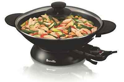 Wok Electric Pan Breville Lid Cooking Glass Non Stick Pot Cooker Steel Fry 2200W