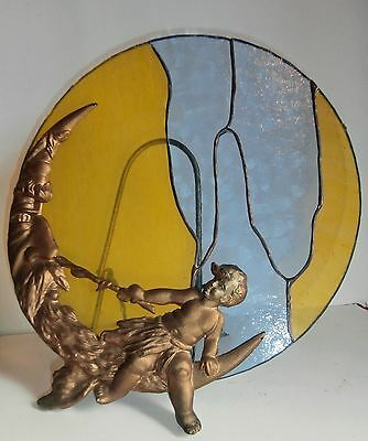 LOWER PRICE SALE/VICTORIAN  Angelot & Moon sculpture w.STAINED GLASS TABLE decor