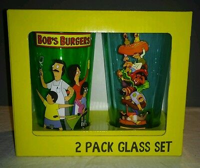 Bob's Burgers 2 Pack Glass Set Brand New In Box