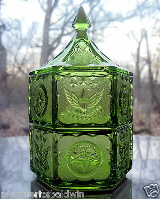 Tiara Indiana Glass Lime Green 2 Tier Colonial Candy Box