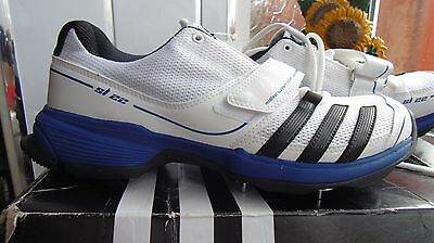 Men's White/blue/black Adidas Sl22 Half Spike Cricket Shoes Boots, Rrp £80