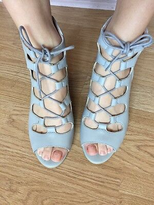 Office Baby Blue Lace Up Mid Heel Sandal Shoes 6 39