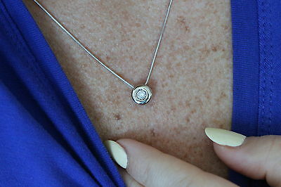 14K White Gold Ladies' Chain with Solitaire Diamond Pendant - 16 Inches