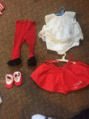 Vintage 1962 ~ Chatty Baby ~ Outfit ~ White Dress W/red Apron ~ Tagged
