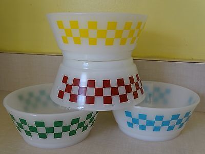 Four (4) Anchor Hocking Fire-King Checker Cereal Soup Bowls EUC