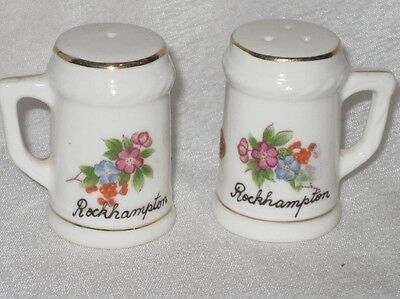 Vintage Bone China Porcelain Souvenir Salt and Pepper Shakers Rockhampton