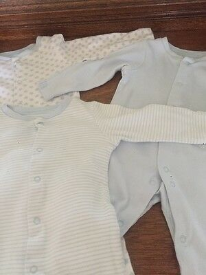 Tu Baby Boy Set Of 3 Blue White Sleepsuits Age 3-6 Months Good Condition