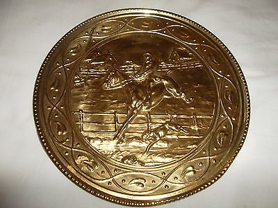 vintage copper english wall plate fox & hounds scene