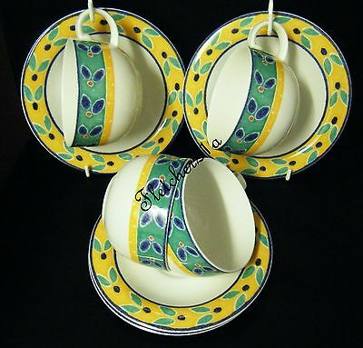 ROYAL DOULTON EXPRESSIONS FINE CHINA CABANA 4 X CUPS AND SAUCERS c1912