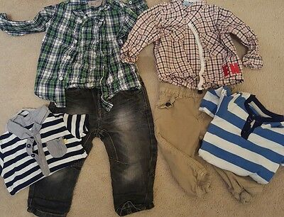 Baby Boys Clothes Outfit Bundle 9 - 12 months Jeans shirts vests