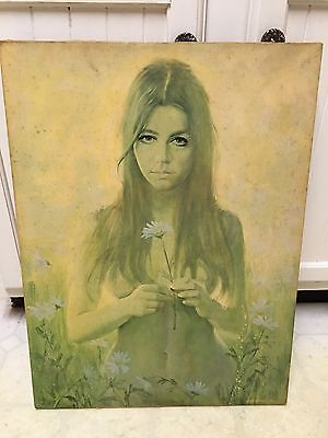 Vintage 1960s-70s Flower Child print On Canvas by Frank Tauriello