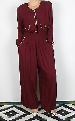 Jumpsuit UK 12 Medium approx. 1980's 80's  All in one Vintage (KAB)