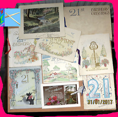 9 Vintage 1940s 21st Family Birthday Cards, Postcard tamped Rhymes Paper