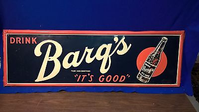 "VINTAGE 40'S  BARQS Root beer 17"" x 54"" EMBOSSED SIGN old bottle pepsi coca cola"