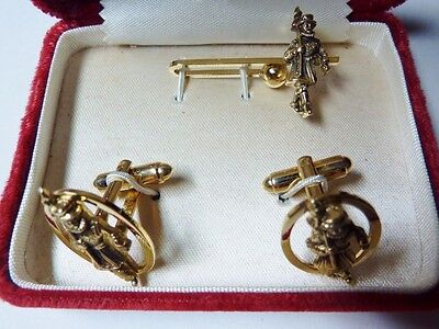 Vintage Set Beefeater Cuff Links & Tie Clip Set W/ Original Box Made By Dante !!
