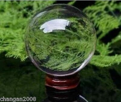 ASIAN QUARTZ Clear Crystal Ball Sphere 40mm +stand