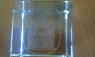 Paperweight  engraved glass  - Vintage? by Carl Rotter Lubeck -