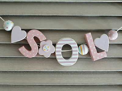 """sol"" Shabby Wooden Letters Door Name Decoration Nursery Playroom Baby Shower"