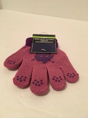 """Kids Non-skid 4"""" Gloves Grey And Pink."""