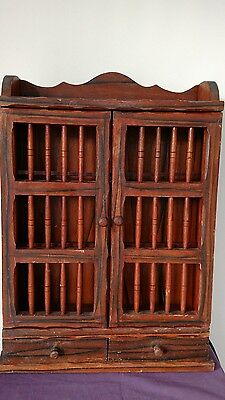 antique wood wall hanging cabinet