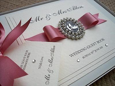LUXURY PERSONALISED WEDDING GUEST BOOK (  Amore )  Any Colour Satin Ribbon