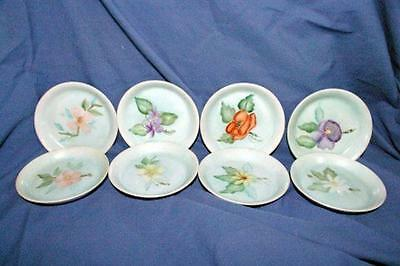 Set Of 7 Hand Painted Floral Coaster/Butter Pats Signed 1972