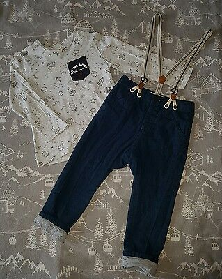 Boys Zara Outfit Chino Trousers with Braces & Space print Top Tshirt 3-4 years