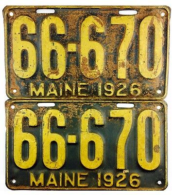 1926 Maine License Plate PAIR #66-670 666 TRIPLE REPEATING 6's
