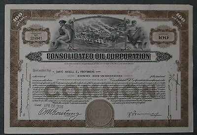 Consolidated Oil Corporation 1939 100 Shares .