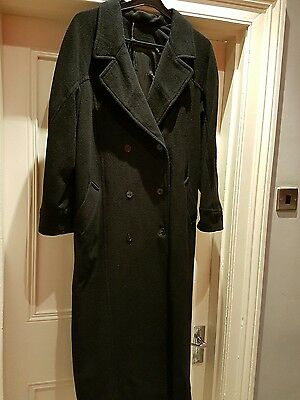 Vintage Women's long black double breasted Coat Size 12