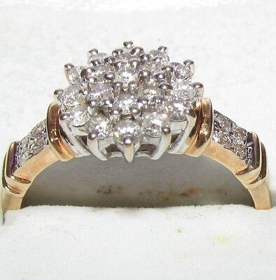 Stunning Secondhand 9Ct Yellow Gold Diamond Cluster Ring Size K