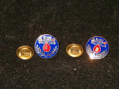 Vintage Gold Tone Blue Enamel Blood Donor Gallon Pins #4&5