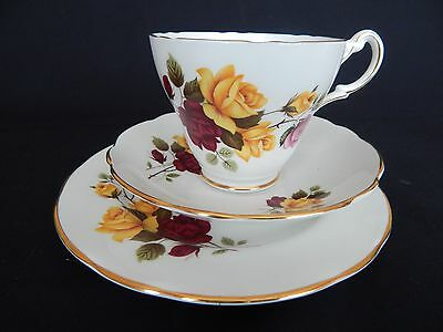 Royal Sutherland Bone China ~ Trio ~ Cup Saucer Plate ~ Pink & Yellow Roses