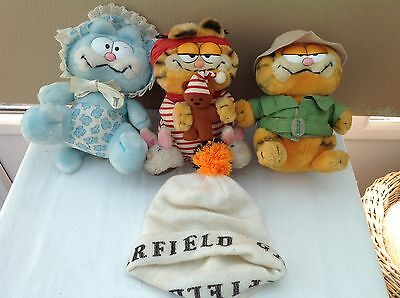 Vintage  Garfields     Plush Toys X 3 And Hat