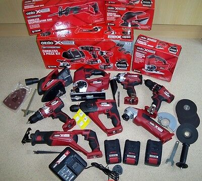OZITO 18v Li-on POWER XCHANGE 8 PIECE POWER TOOL SET WITH 3 BATTERIES + CHARGER