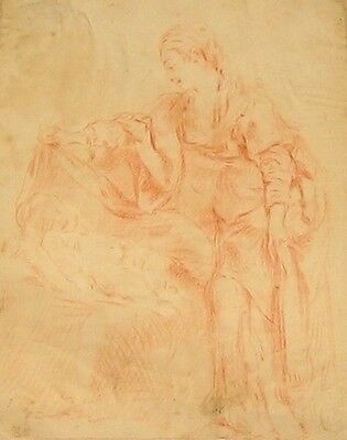 French Old Master 18th Century sanguine chalk/pencil drawing - Circle of Boucher