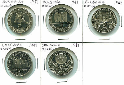 Bulgaria C002 1981, 2 Leva, 1300 years anniversary, UNC Proof (5 coins).