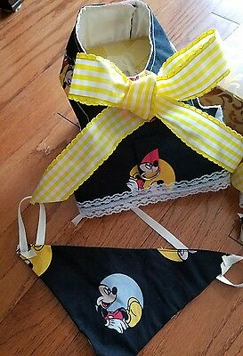 dog Mickey Mouse harnesses  XS AND SMALL . Matching  bandana  comes with  it.