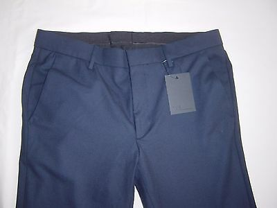 "ASOS NAVY BLUE SMART 31.5"" LONG TROUSERS WITH GATHERED HEMS, Sz 32 R BNWT"
