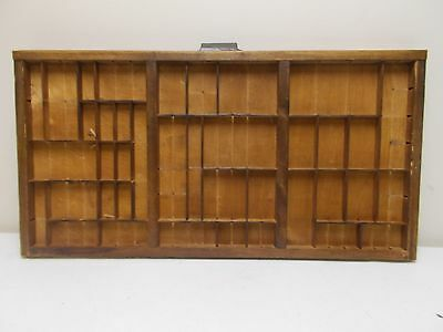 Vintage printers drawer tray shadow box wood letter press shelf display Hamilton