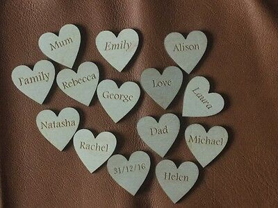 Personalised 35 mm Hearts (Pack of 5) Wedding Guestbook Name Hearts