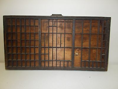 Vintage printers drawer tray shadow box wood letter press shelf display unmarked