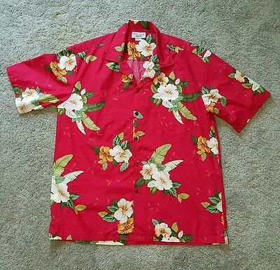 Vintage Pacific Legend Men's XL Hawaiian Shirt Red Palms With White Hibiscus