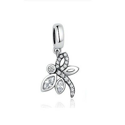 Sterling Silver EURO Charm Sparkling Dragonfly Dangle CZ+FREE Pandora Cloth