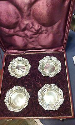 4 CHINESE STERLING SILVER COASTERS IN ORIGINAL RED BOX 4oz.
