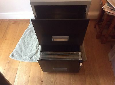 2 Drawer Lockable Steel Silver Black Filing Cabinet A4