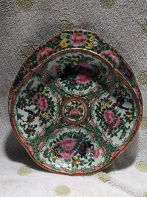 "Antique 1850's Chinese Rose Medallion Shrimp Dish 10"" Very Nice"