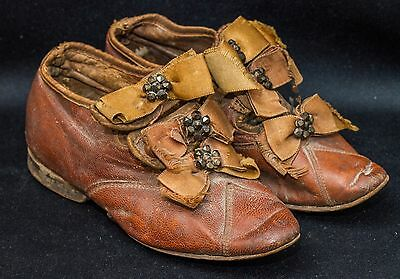 Victorian Antique Child's Shoes~Ribbon & Cut Steel~5 & 1/2~Kid Leather~Doll Shoe