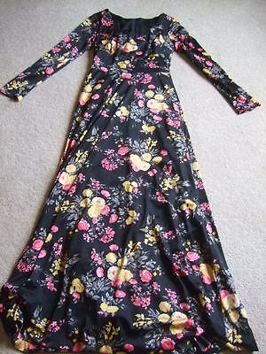 vintage retro 60s 70s black yellow pink floral maxi dress 6 8 festival hippy